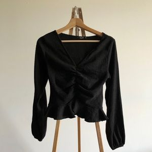 H&M peplum ruched long sleeve blouse